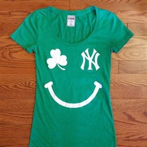 Victoria's SEcret PINK Greeb NY YANKEES Tee Lucky